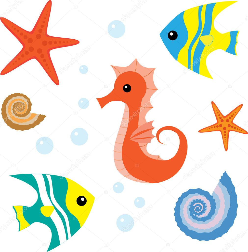 Sea Star Cartoon Cartoon sea life set 1 - stock