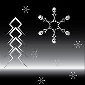 Goth set of snowflakes and firtree — Stockvektor