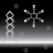 Gotik dizi kar taneleri ve firtree — Stok Vektör