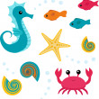 Cartoon sea life set 3 — Stock Vector
