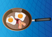 Fried eggs with bacon on frying pan — Stock Vector