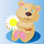 Little teddy bear with flower — Stock Vector