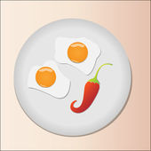 Fried eggs with papper on plate — Stock Vector