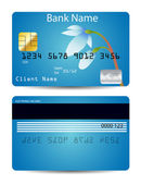 Blue credit card with snowdrop © Daryna Chugunova #9002969 — Stock Vector