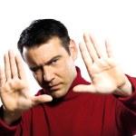 caucasian Mann Geste Finger frame — Stockfoto
