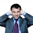 Man hands covering ears annoyed by sound — Stock Photo