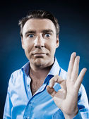 Man Portrait Ok Sign — Stock Photo