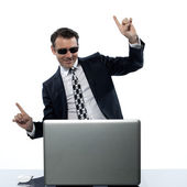 Man computer hacker satisfied internet piracy — Stock Photo