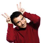 Caucasian man ears rabbit — Stock Photo