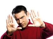 Caucasian man gesture Finger Frame — Stock Photo