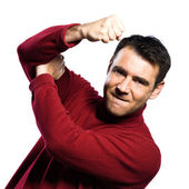 Caucasian man anger rude obscene gesture — Stock Photo