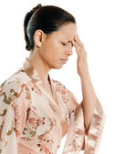 Headache woman asian — Stock Photo