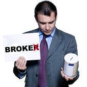Portrait of bankrupt broker holding money box — Stock Photo