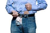 Detail van denim jeans met geld binnen — Stockfoto