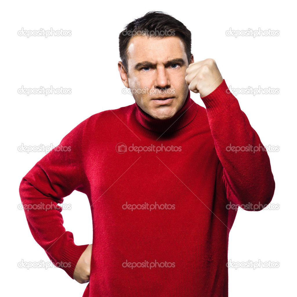 Caucasian man angry gesturing fist raised menacing threat studio portrait on isolated white backgound — Stock Photo #8915491