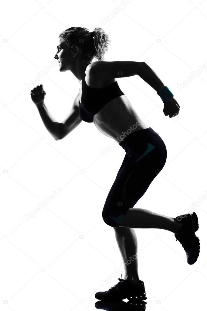 One woman  running runner sprinting workout fitness aerobic exercise posture on studio isolated white background  Stock Photo #8916983
