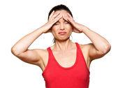 Portrait of expressive woman with severe headache — Stock Photo