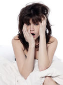 One woman in bed awakening yawning tired insomnia — Stock Photo