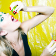 Woman drinking Tequilla — Stock Photo