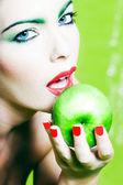 Woman Portrait Hold an Apple — Stock Photo