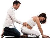 Paar verwachten baby massage — Stockfoto