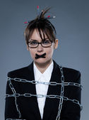 Business woman secretary chained — Stock Photo