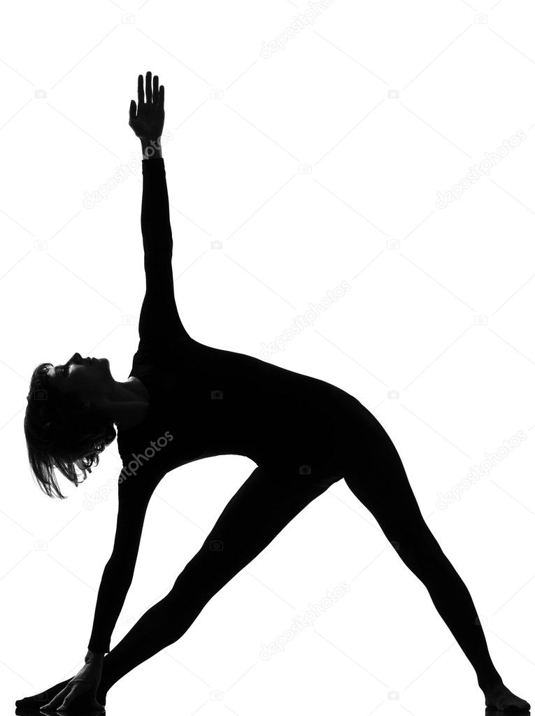Parivritta trikonasana woman yoga triangle pose — Stock Photo ...