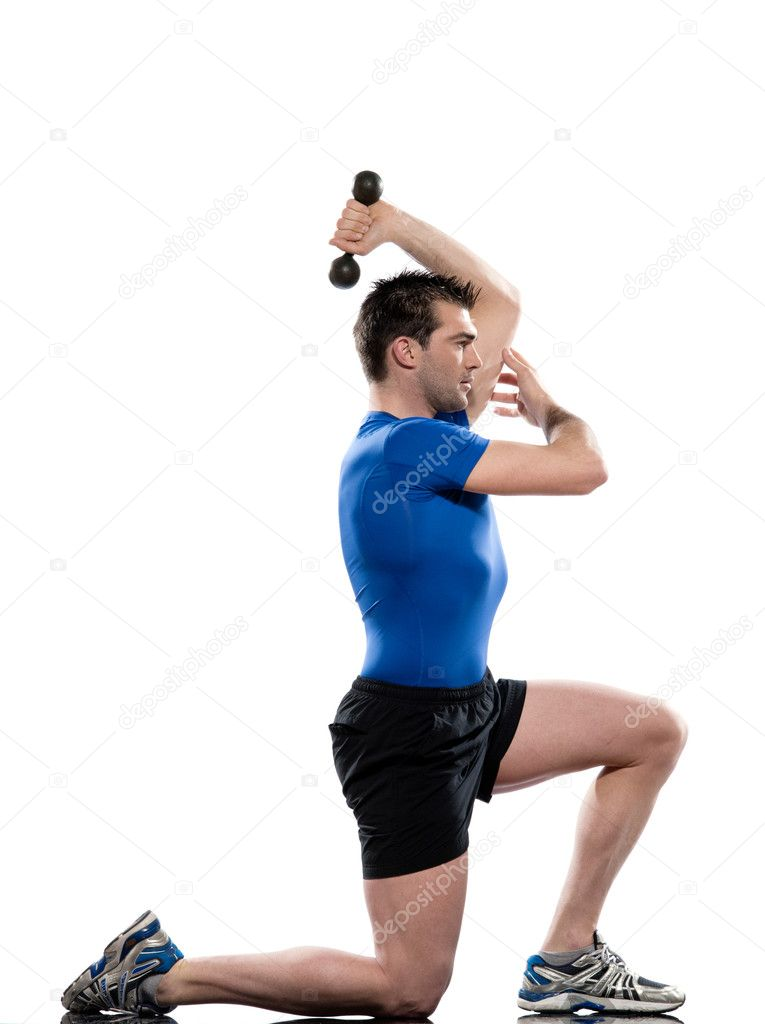 Man doing workout on white isolated background.LungesTriceps Stretch — Stock Photo #9001982