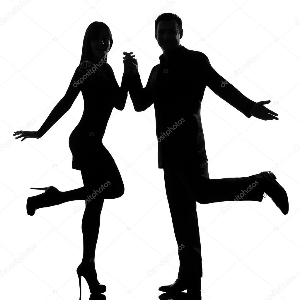 One couple man and woman dancing rock — Stock Photo ...