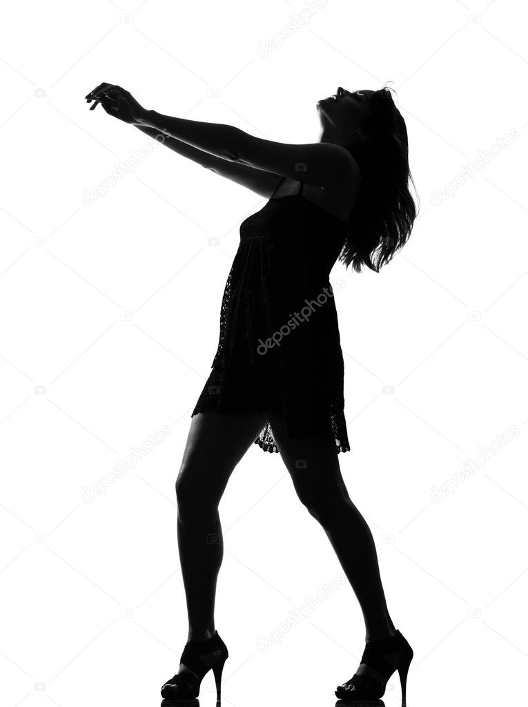 Stylish silhouette caucasian beautiful woman dancing full length on studio isolated white background — Stock Photo #9003517