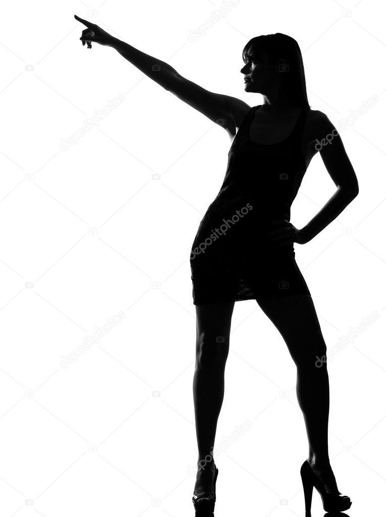 Stylish sexy silhouette caucasian beautiful woman dancer dancing pose posture on studio isolated white background — Stock Photo #9003651