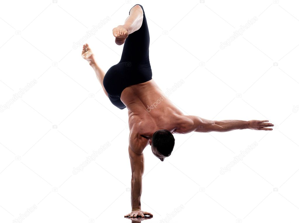 One caucasian man yoga handstand gymnastic acrobatics full length studio isolated on white background  Stock Photo #9003842