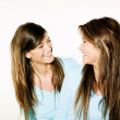 Twin sisters woman portrait — Stock Photo