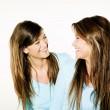 Twin sisters woman portrait — Stock Photo