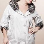 Large build caucasian woman spring summer fashion — Stock Photo