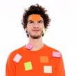 One young man portrait covered by adhesive notes — Stock Photo #9078587