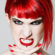 Funny & sexy expressive redhead girl — Stock Photo