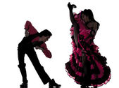 Couple man woman dancer dancing french cancan — Stock Photo