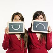 Happy and sad women concept — Stock Photo