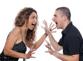 Couple Portrait dispute screaming — Stock Photo