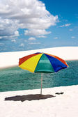 Umbrella beach in the Lencois Maranheses National Park brazil — Stock Photo