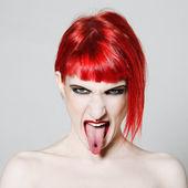 Funny & sexy expressive redhead girl — Stock Photo