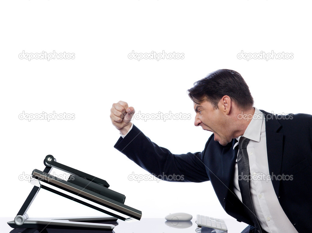 Caucasian man and a computer display monitor on isolated white background expressing  bug  conflict rejection concept — Stock Photo #9075945