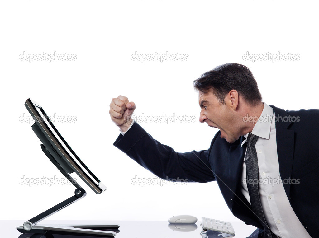 Caucasian man and a computer display monitor on isolated white background expressing  bug  conflict rejection concept — Stock Photo #9075947
