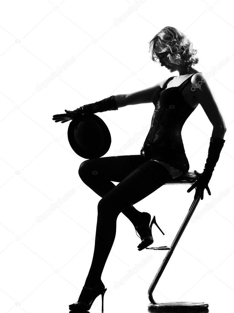 Stylish silhouette caucasian beautiful woman dancing cabaret sexy  attitude behavior clothes full length on studio isolated white background — Stock Photo #9076261