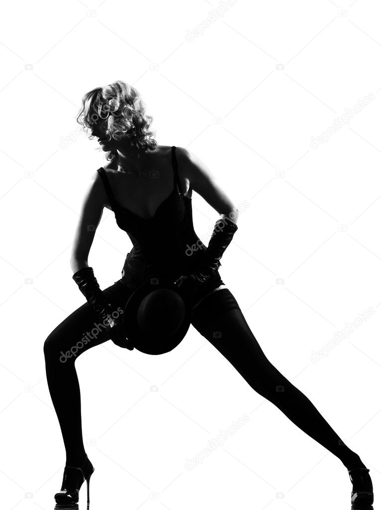 Stylish silhouette caucasian beautiful woman dancing cabaret sexy  attitude behavior clothes full length on studio isolated white background — Stock Photo #9076263