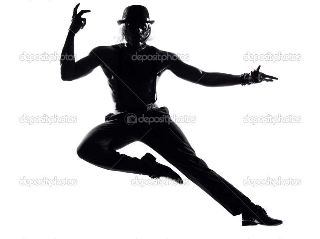One  african man dancer dancing cabaret burlesque on studio isolated white background — Stock Photo #9077390