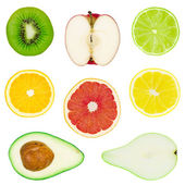 Collection of the isolated fruit — Stock Photo