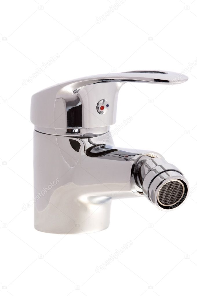 Chrome faucet water tap with a swivel head on an isolated background cutout — Stock Photo #8961500