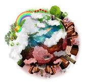 Schone lucht en aarde vervuild mengen — Stockfoto